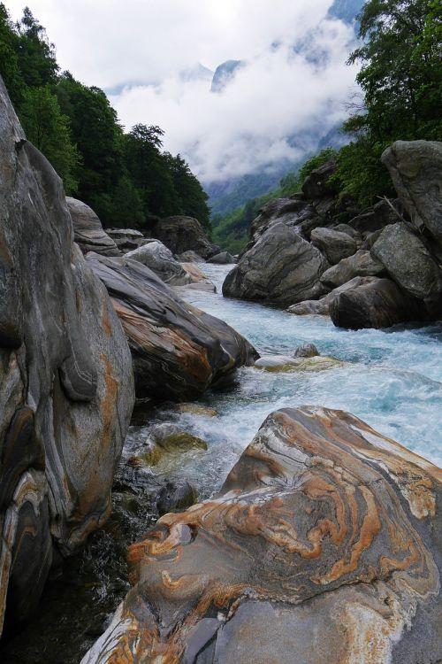 Vanduo, Laukiniai, Upė, Gamta, Verzasca, Akmenys