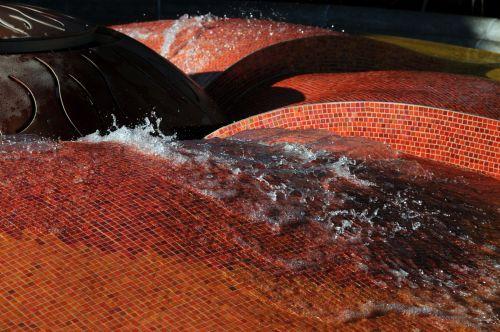 vanduo, fontanas, srautas, plytelės, aikštės, oranžinė, tekstūra, modelis, vanduo & nbsp, fontanas, vanduo, tekantis fontanas