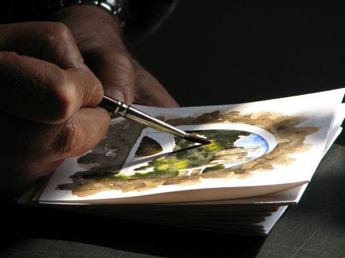 akvarelė,dailininkas,menininkai,menas,dažyti,atkreipti,šepetys,rankos,talentas,spalva