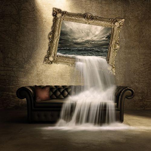 krioklys,sofa,vaizdas,sirrealis,komponavimas,skaitmeninis menas