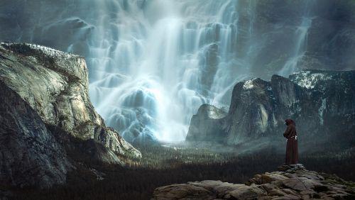 krioklys,kalnai,kraštovaizdis,vanduo,kalnų gamta,Rokas,kalnų peizažas,komponavimas,kalnų pasaulis,milžiniškas,didelis,įvedimas,šviesa,įspūdingas,milžiniškas,perspektyva,didelis,galingas,nuotaika