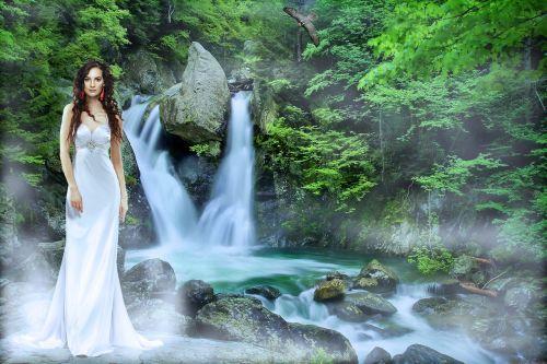 krioklys, vandenys, gamta, upė, srautas, moteris, suknelė, žalias, tekantys vandenys, kraštovaizdžio vanduo, be honoraro mokesčio