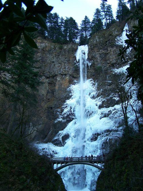 Krioklys, Užšalęs Krioklys, Žiema, Multnomah Falls, Multnomah, Ledinis Krioklys