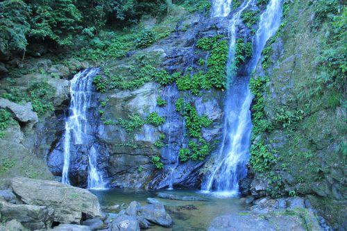 Tamaraw & nbsp, kriokliai, kriokliai, kritimo, vanduo, juda & nbsp, vanduo, augalai, medžiai, puerto & nbsp, galera, Filipinai, kriokliai