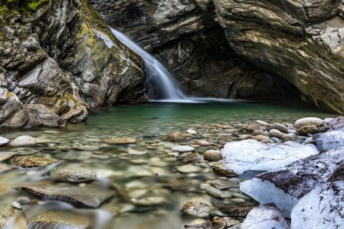 vandenys, gamta, upė, krioklys, austria, Tauerno nacionalinis parkas, žemutiniai sulzbach slėniai, ledkalnis, ledkalnis, latakai, vanduo, ištirpinti vandenį, akmenys, Rokas, Bachas, kraštovaizdis, burbulas, kriokliai, mažas krioklys, samanos, ilga ekspozicija, ndfilter, be honoraro mokesčio