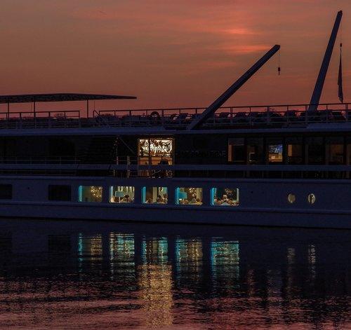 vandenys, laivas, restoranas, bar, saulėlydžio, kelionė, transporto sistema, upė, vandens, atmosferos, atspindys, Berlynas, Tegel