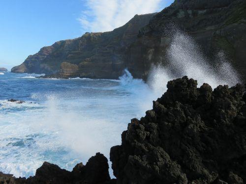 banga,naršyti,uolos,avarija,purkšti,kranto,vulkaninis uolas,vandenynas,jūra,tvirtas,azores