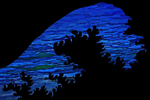 fonas, banga, modernus & nbsp, menas, kreivė, naršyti, Curl, grafika, juoda, mėlynas, Diržuotas & nbsp, kraštas, vandenynas, miesto & nbsp, menas, bangų modernus menas