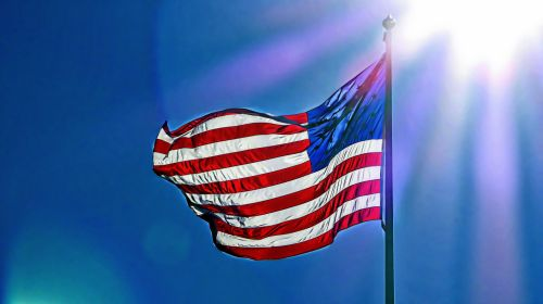 vėliava, usa, amerikiečių & nbsp, vėliava, saulės spindulys, žvaigždės & nbsp, juostelės, atostogos, 4th & nbsp, liepos, mojuoja vėliava