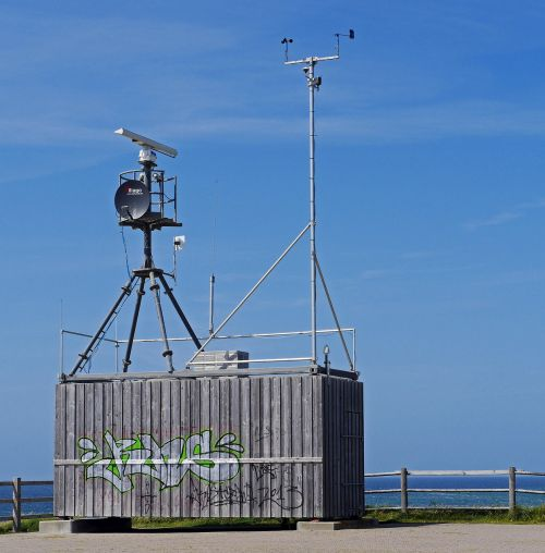oro stotis,automatizuota,duomenys apie orą,duomenų rinkimas,radijo perdavimas,radaras,Palydovinė lėkštė,antenos,konteineris,jūra,Šiaurės jūra,sylt,pietų viršūnė,kopos