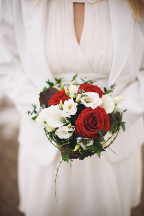Vestuvės, puokštė, gėlė, rožė, nuotaka, moteris, balta suknelė, vestuvių puokštė, rožių puokštė, romantika, santuoka, vestuvių puokštė, gėlių puokštė, anksčiau, be honoraro mokesčio