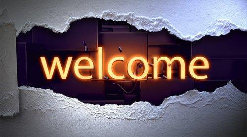 Sveiki, raidės, spausdinimas, neono šriftas, Neon, popierius, Reklama, apšviestas, šviečiantieji raides, raidės, Sveiki atvykę į, šviesus, vakare, apdaila, šrifto, skydas, grafinis