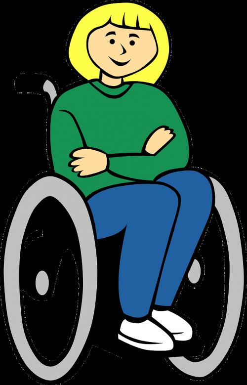 neįgaliųjų vežimėlis,sėdi,šviesūs plaukai,moteris,Lady,parama,parama,priežiūra,pacientas,nemokama vektorinė grafika