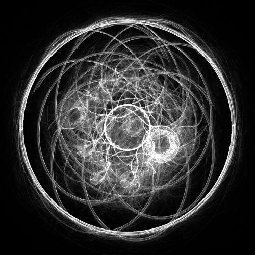 fraktalas, balta, Orbita, izoliuotas, juoda, fonas, geometrinis, formos, linijos, apskritimai, atsitiktinai, balti orbita