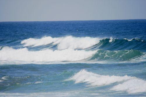 jūra, naršyti, papludimys, bangos, saulėlydis, miglotas, baltos naršyti jūroje