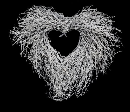 apdaila, mediena, vintage, balta, natūralus, figūra, grubus, žiema, širdis, Kalėdos, meilė, šakelė, xmas, šakelės, vainikas, sezoninis, balta šakelė širdis