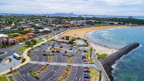 antena, australia, drone, phantom4, papludimys, Melburnas, dangus, jūra, baseinas, automobilių stovėjimo aikštelė, palmių & nbsp, medis, williamstown victoria australia