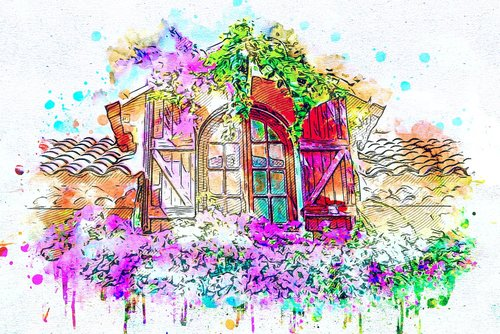 langas, gėlės, menas, Anotacija, akvarelė, Vintage, pobūdį, meninis, dizainas, Aquarelle, dažų Šļakstēties, skaitmeninis menas, skaitmeninis dažai, piešimo, Nemokama iliustracijos