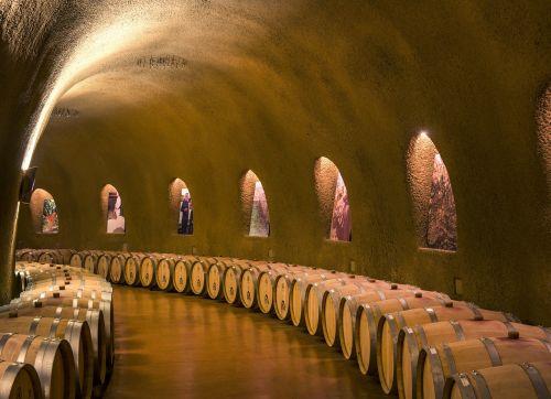 vyno rūsiai, urvai, tunelis, parabolinis, statinės, konteineriai, arkotos alkstinės, apšviestas, architektūra, napos slėnis, Vaca kalnai, Kalifornija, jarvis vyno darykla, Usa