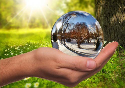 žiema,vasara,kontrastas,sezonai,ranka,rutulys,veidrodis,stiklo rutulys