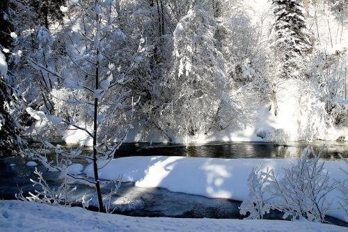 žiema,medžiai,sniegas,upė,Bachas,kraštovaizdis,žiemą,šaltas,šaltis,ledinis,gamta,saulė,saulėta diena,žiemos laikas,snieguotas,žiemos svajonė,spalvingas,ledinis šaltas,ledinis,sušaldyta,Gorge,slėnis,vanduo,Adventas,Kalėdos