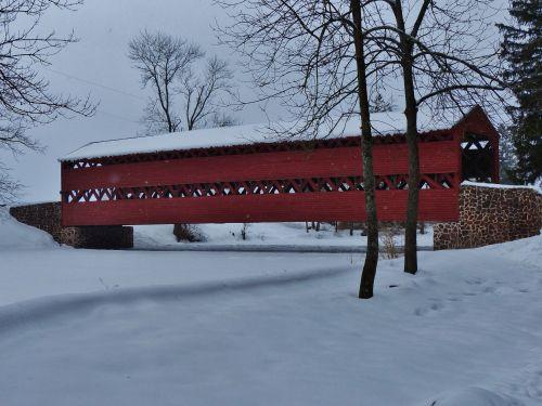 Gettysburg, padengtas, tiltas, raudona, sniegas, sušaldyta, šaltas, pennsylvania, žiema, vanduo, ledas, žiemos padengtas tiltas