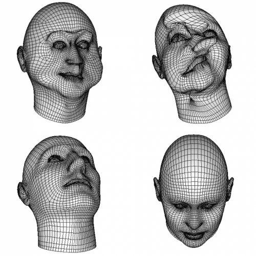 nustatyti, grupė, 4, keturi, viela, Tinklelis, veidai, skulptūra, 3d, piešimas, piktogramos, avatarai, izoliuotas, balta, juoda, fonas, vielos tinklelio veidai