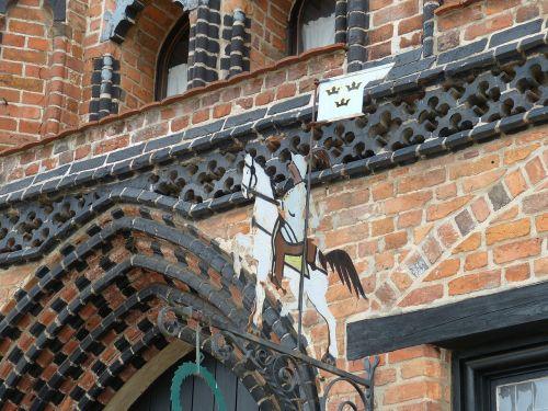 Wismar,Meklenburgas,istoriškai,Senamiestis,plyta gotika,skydas,plyta,ornamentas,Reiter,modelis