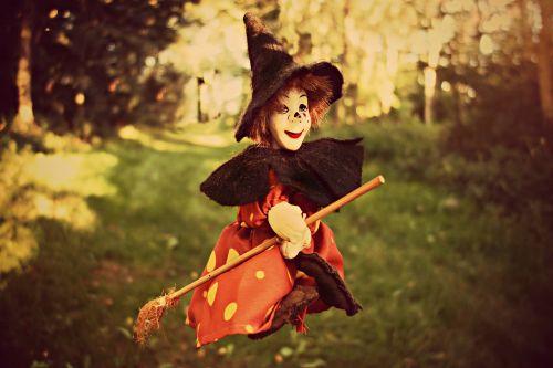 ragana,šluota,raganos skrybėlė,lėlės,žaislas,žaislinė ragana,moteriškoji ragana,miškas