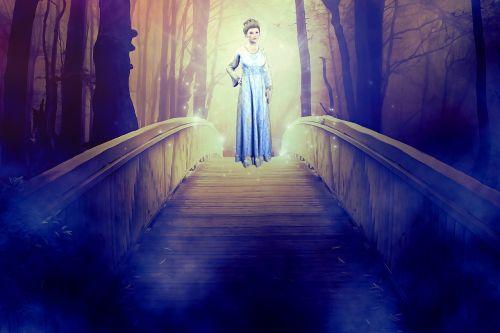 moteris,Lady,dvasia,išvaizda,mistinis,tiltas,miškas,pasakos,fantazija,vaiduoklis,baisu,svajonė,suknelė,susitikimas,švytėjimas,lichtspiel,tamsa,pagunda,kelti