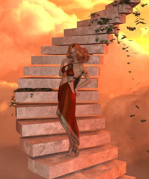 moteris,laiptai,saulėlydis,patobulinti,laukti,karjera,regėjimas,triumfas,sėkmė,laiptų žingsnis,sėkmė
