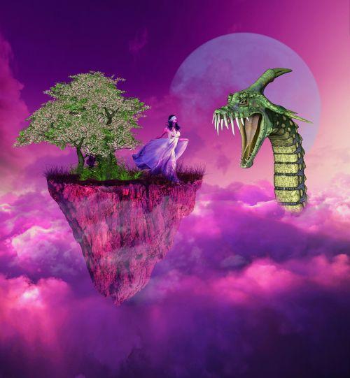 moteris,gyvatė,medis,debesis,fantazija,sirrealis,mėnulis,aklai sulankstyti,plaukiojanti sala,drakonas,Moteris,mergaitė,modelis,Lady