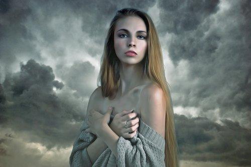 moteris, mergina, Moteris, jauna, Grožio, modelis, dangus, dramatiškas, dramatiškas dangus, audra, debesys, fantazija, gotika, Goth, paslaptis, mįslingas, tamsus