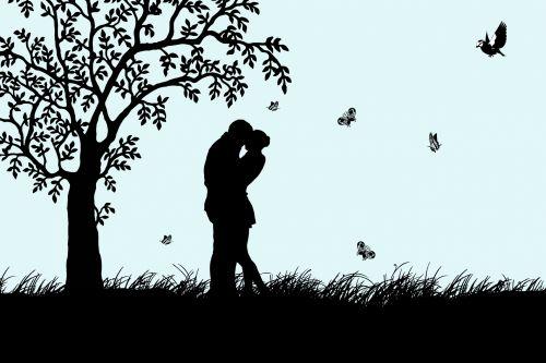 Moteris,  Vyras,  Pora,  Meilė,  Romantika,  Jaunas,  Siluetas,  Medis,  Drugelis,  Drugeliai,  Paukštis,  Žolė,  Juoda,  Iliustracija,  Romantiškas,  Gamta,  Sodas,  Pieva,  Scrapbooking,  Laisvas,  Viešasis & Nbsp,  Domenas,  Moteris,  Vyras Mėgsta Romantiką