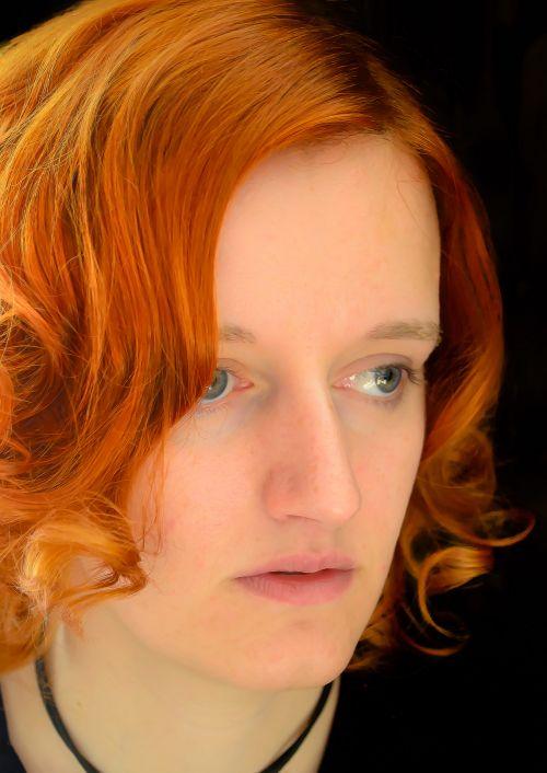moteris, žmonės, Moteris, plaukai, raudona, veidas, portretas, vaizdas, moteris su raudonais plaukais