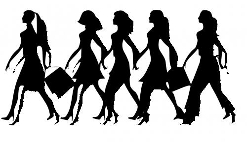 moterys,moterys,moterys,mergaitės,vaikščioti,juoda,siluetas,apsipirkimas,gal naktį,penki,rankinės,grupė,draugai,merginos,nemokama vektorinė grafika