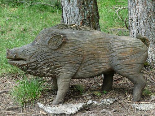 mediena,drožyba,šernas,kiaulė,sėti,gamtos takas,holzfigur