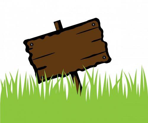 mediena,medinis,iškabą,žolė,žalias,skelbimų lenta,tuščias,lenta,ženklas,pastebėti,skelbimų lenta,skelbimų lenta,menas,ilgai,dizainas