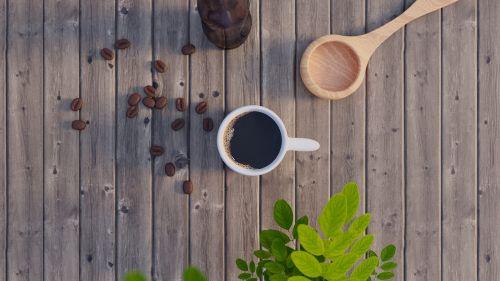 mediena,kava,lapai,šaukštas,fonas