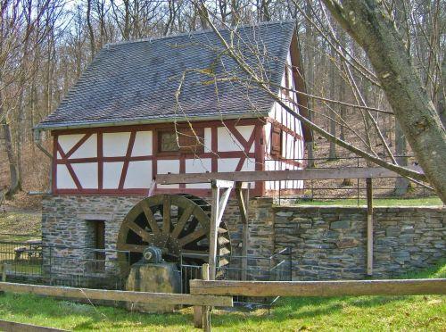 mediena, namai, miškai, architektūra, pastatas, istorinis pastatas, malūnas, vandens malūnas, šlifuoti, vandens ratas, malimo ratas, müller, be honoraro mokesčio
