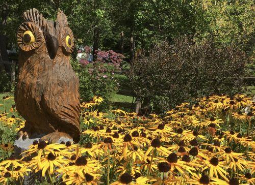 medžio drožyba,pelėdos,figūrėlė,dekoruoti,grandininių pjūklų drožyba,kaimiškas