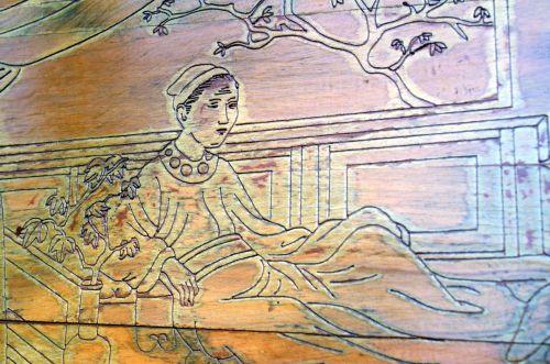 mediena, drožyba, medinis, menas, nuotrauka, Kinija, moteris, lakas, medžio drožyba