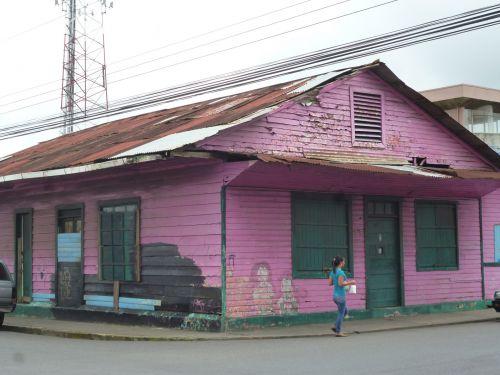 namas, rožinis, medinis, mediena, senas, costa & nbsp, rica, būstas, dažyti, šviesus, ryškiai, tradicinis, medinis namas