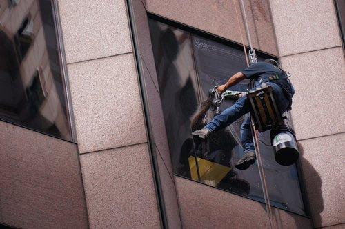 darbuotojas, dirbti, langas, plovimo, langų plovimo, skalbimas, valymas