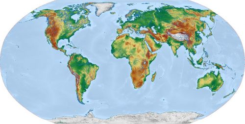 pasaulis,žemėlapis,pasaulio žemėlapis,žemė,reljefo žemėlapis,žemynai,robinsono projekcija,visuotinis,kartografija,topografija