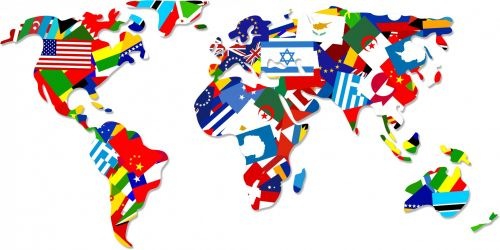 Iliustracijos, clip & nbsp, menas, grafika, iliustracija, žemėlapis, žemėlapiai, pasaulis, visuotinis, vėliavos, pasaulio & nbsp, vėliavos, tarptautinis, internetas, www, visame pasaulyje, kelionė, pasaulio vėliavos žemėlapis