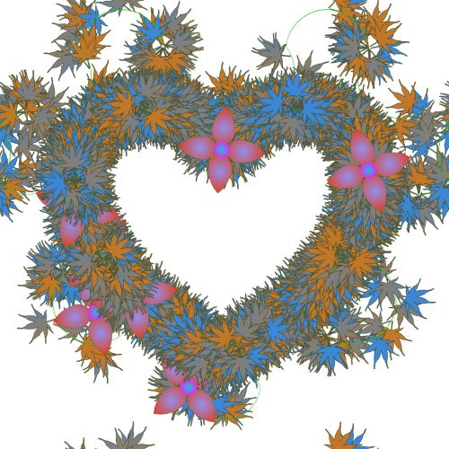 širdis, piktograma, iškarpų albumas, dekoratyvinis, pledas, vainikas, lapija, apskritas, išdėstymas, girlianda, spalva, žvaigždė, žalias, meilė, Draugystė, jausmas, balta, fonas, vainiko širdis