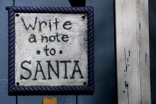 Kalėdos, xmas, santa, santa & nbsp, claus, ženklas, Iš arti, tvora, medinis, atostogos, pastaba, parašyk pastabą apie Santa ženklą