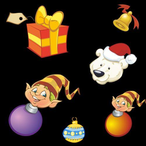 xmas, Kalėdos, deko, dekoracijos, juoda, varpas, turėti, dėžė, dovanos, fonas, elfai, rutuliai, xmas dekoracijos