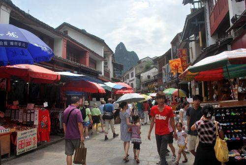 Kinija, yangshuo, architektūra, miestas, gatvė, žmonės, turizmas, verslas, Yangshuo Kinija